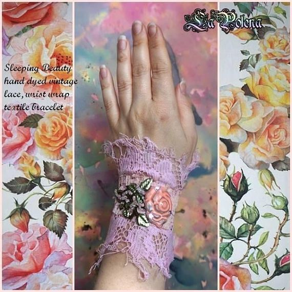 SLEEPING BEAUTY lace cuff hand dyed lace textile bracelet