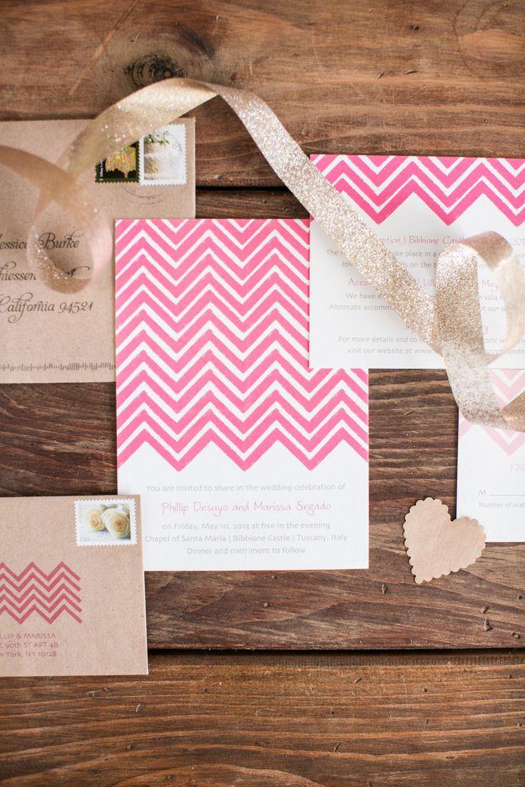 pink chevron #invitations by http://delphinepress.com, Photography: Jessica Burke - www.jessicaburke.com