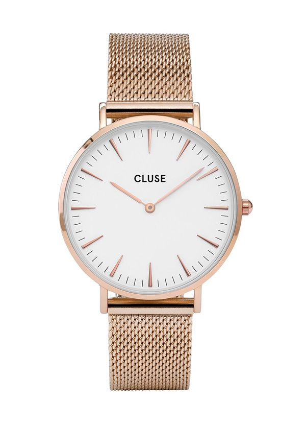 Sehr schöne und zugleich schlichte Cluse La Boheme rose gold mesh Uhr für Damen.