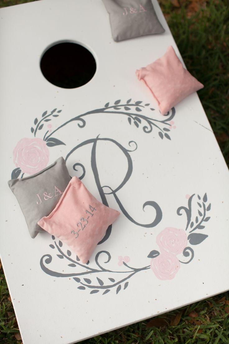 love these blush pink & gray cornhole games!  so nice!  ~  we ❤ this! moncheribridals.com