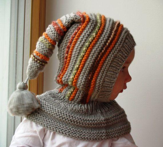 Graue Elf Mütze, Hand stricken Sturmhaube für Baby, Kleinkind, Kind, Hut mit Pom Pom Tail. Zur Bestellung Größen 6 bis 12m, 1-3-6-10y