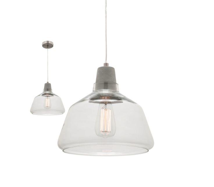 Laya Concrete Large Pendant Light with Glass Shade Mercator MG6531L/CNT, $138.00