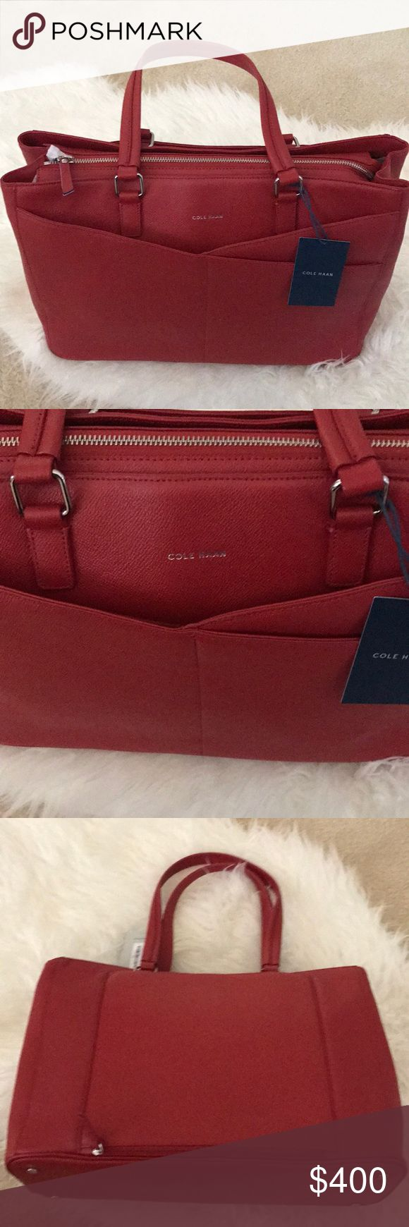 Cole Haan Leather Tote/Travel Bag This unique Red Cole Hann bag is brand new and never used. You won't see anyone else wearing this bag because it was specifically designed for American Airlines and was gifted to only the flight attendants. This bag cannot be bought anywhere. It is beautifully designed with travel and mind. It has a zippered opening on the back so it can easily slide onto the handle of a wheeled carry-on suitcase. It has built in RFID Technology into the credit card slots…