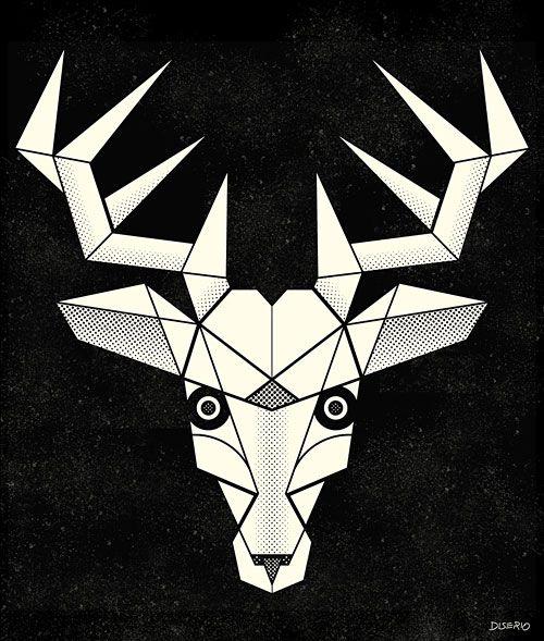 "kurtdiserio: "" Deer, Geometric Spirit Animal Series, illustration 2014 www.kurtdiserio.com """