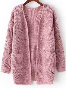 Long Sleeve Chunky Knit Pockets Pink Cardigan US$26.67