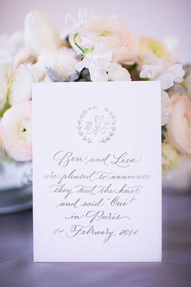 Used this inspiration for the wording of the reception invitation. I liked the layout and the font. The monogram is too plain/ formal though. I'd like for that design to be more fun and colorful like the ones we talked about below -Katie