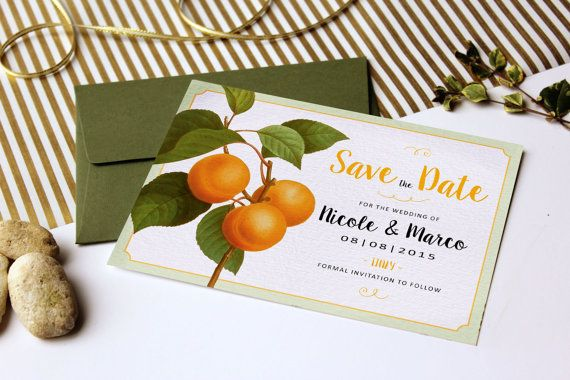 Orange Citrus Wedding Save the Date Cards A6  by VanillaRetro - #danishandmadewedding