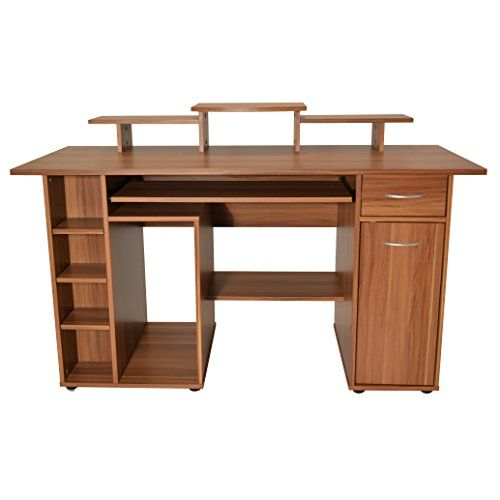 sturdy modern computer desk with huge amounts of storage space in wood effect finish this workstation is a must for any busy office