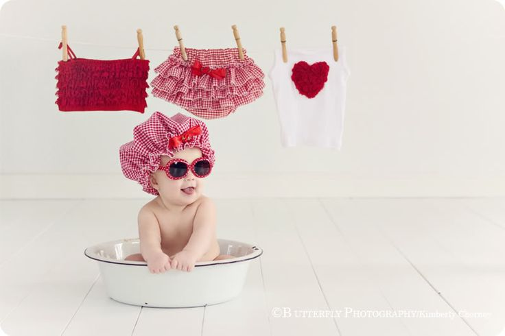 Aww....too cute! ♥ Props | Prop Ideas | Child Photography | Clothing Inspiration| Fashion | Pose Idea | Poses | Baby | Bath Time | Laundry | Kimberly Chorney Photographer | Valentine's Day Photo Session Idea