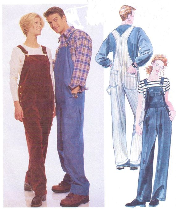 90s Womens And Mens Bib Overalls Mccalls Sewing Pattern