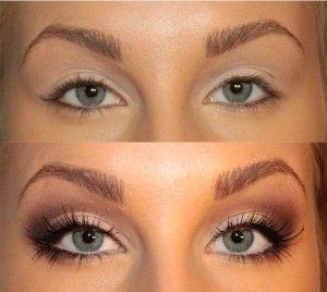 сделать глаза больше с помощью макияжа фото до и после