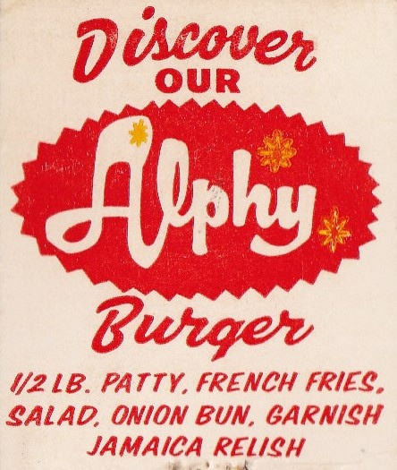 Discover Our Alphy Burger by hmdavid, via Flickr: Vintage Graphics, Alphy Burger, Design Ideas, Fast Eats, Matchbox Art Cigarette, Art Cigarette Art, Art Reference, Burgers Burgers, Pop Graphics