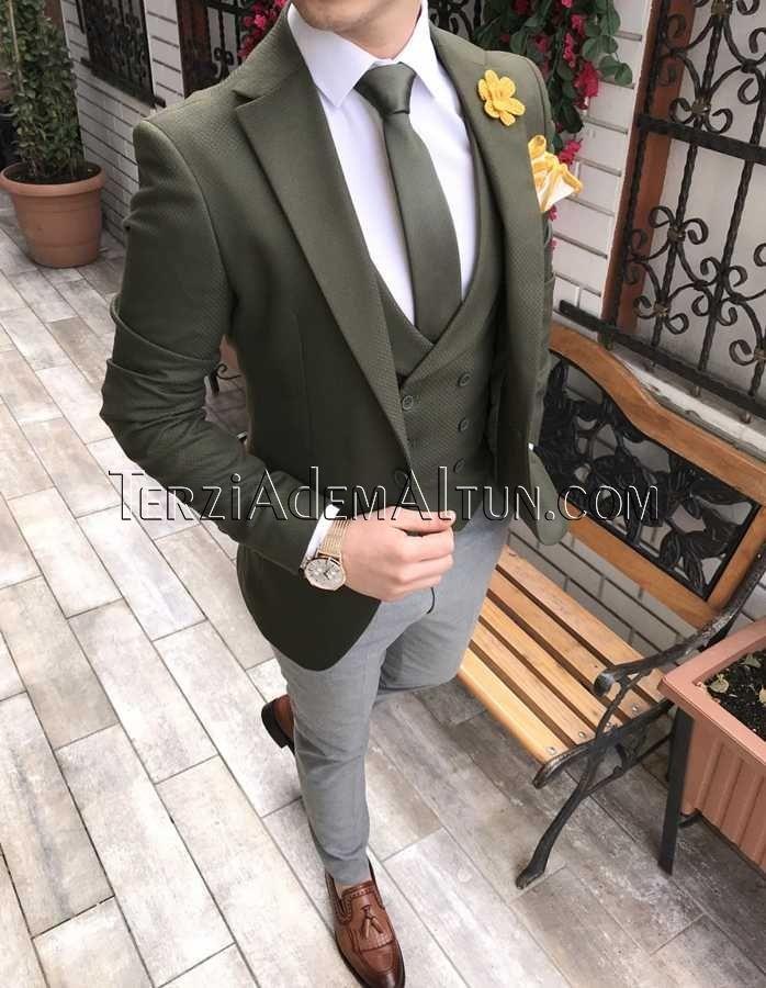 c043d497e25a6 İtalyan stil erkek ceket yelek pantolon yeşil kombin takım elbise T2304