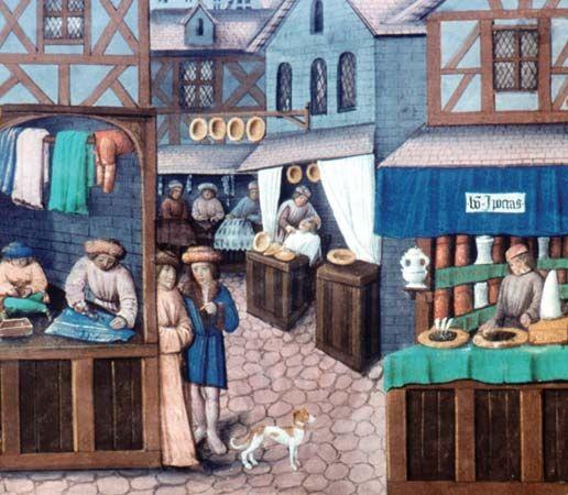 "Detail of shops lining a medieval street, to the right a merchant selling spices, sugar and advertizing ""bon hypocras"". Gilles de Rome, Livre du gouvernement des princes. France, 15th century. Paris, BnF, Arsenal 5062 fol. 149 v"