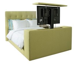 Tv Lift Bed Transitional, Upholstery Fabric, Bed by Avery Boardman