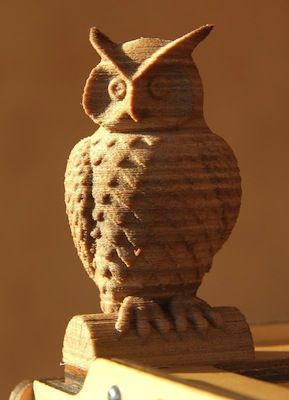 3D Printed owl with Wood filament