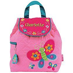 "Quilted Butterfly Embroidered Backpack, Cotton, 12"" x 13.5"", Magnetic Snap Closure"