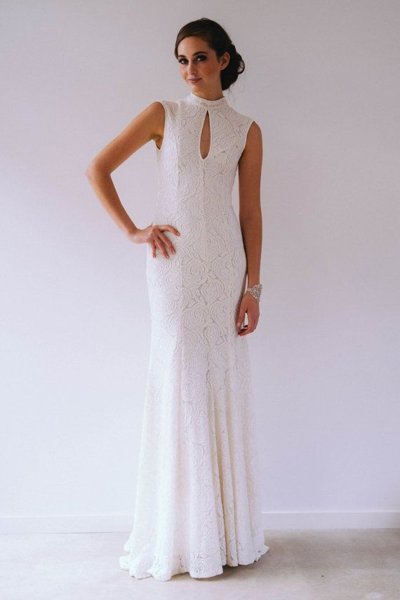 High neck lace gown  SAMPLE SALE by WhenFreddiemetLilly on Etsy