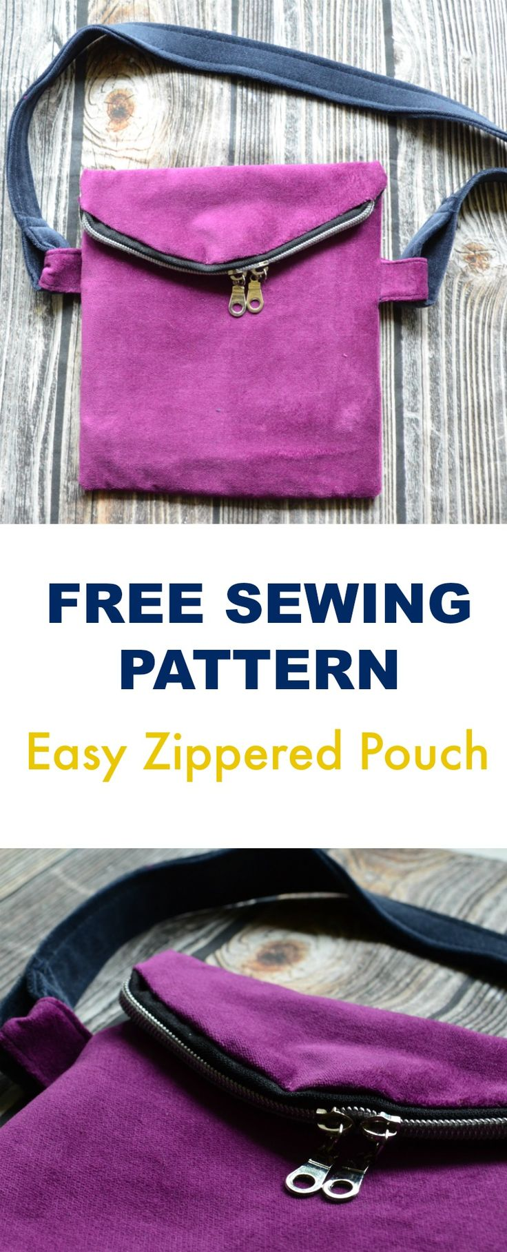 FREE SEWING PATTERN: Easy Zippered Pouch: Learn how to make a basic and simple zippered pouch with this step by step sewing tutorial