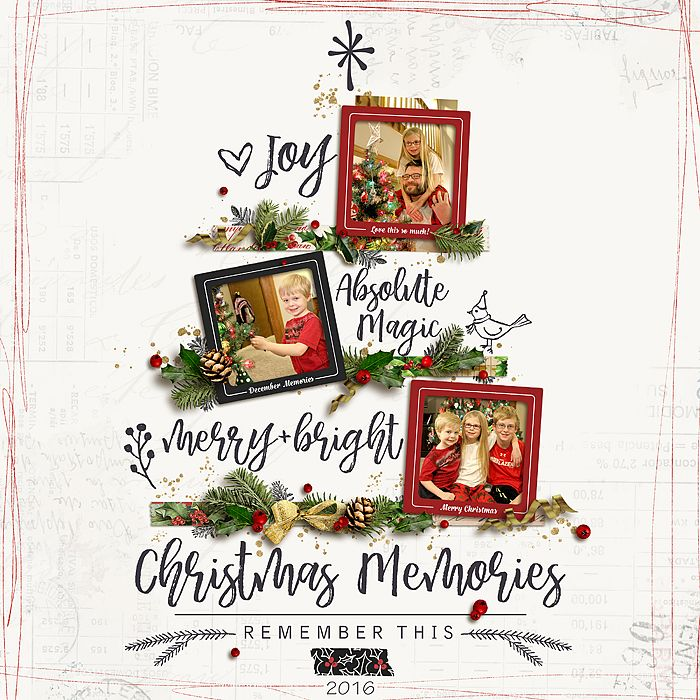 Decorating the Tree - Christmas 2016 such a creative Christmas Scrapbook page by BessySue #designerdigitals