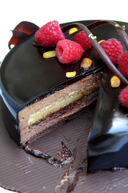 A Remake of Ambroisie : Chocolate Jaconde, Pistachio Jocande, Raspberry Jam, Dark Chocolate Mousse, Pistachio Mousse, Choc Glaze.