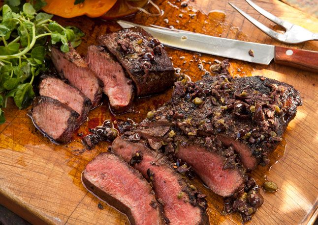 Grilled Flatiron Steaks with Tomatoes and Tapenade  (or  skirt, hanger, flank)
