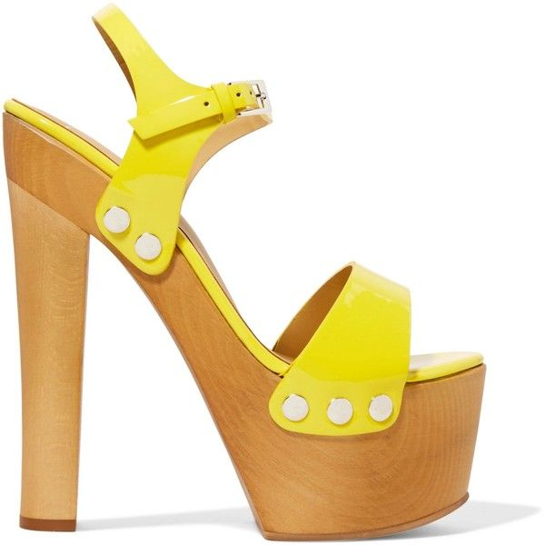 GIUSEPPE ZANOTTI DESIGN   Patent-leather platform sandals ($320) ❤ liked on Polyvore featuring shoes, sandals, high heel shoes, wooden heel sandals, high heel platform sandals, yellow high heel sandals and patent leather sandals