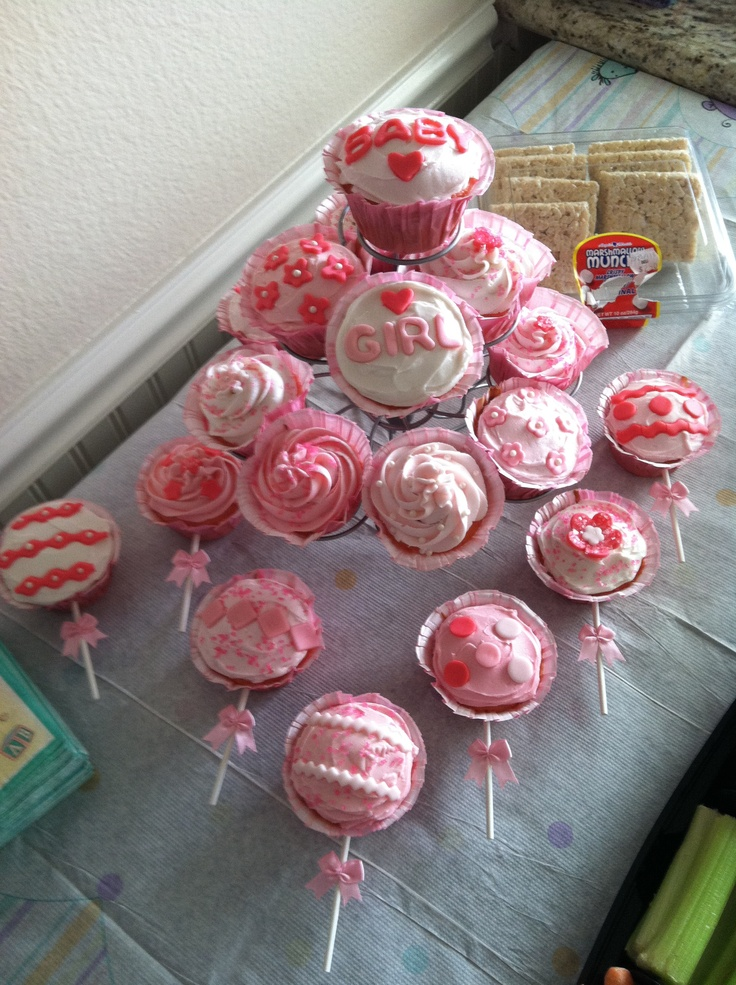 Baby Shower Cupcake Flavor Ideas : It s a Girl! Baby Shower-Rattle Cupcakes Strawberry Flavor ...