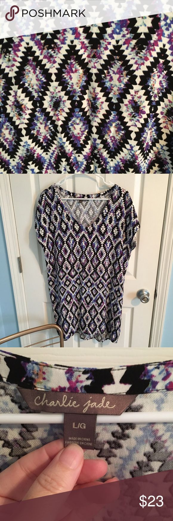 Anthropologie Charlie Jade geometric tunic large Anthropologie Charlie Jade geometric print tunic, large, beautiful flows and free, would look awesome with skinny pants, excellent condition Charlie Jade Tops Tunics