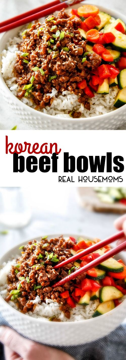 Budget friendly Korean Beef Bowls on your table in less than 30 minutes, bursting with flavor and one of the absolute easiest meals you will ever make! via @realhousemoms