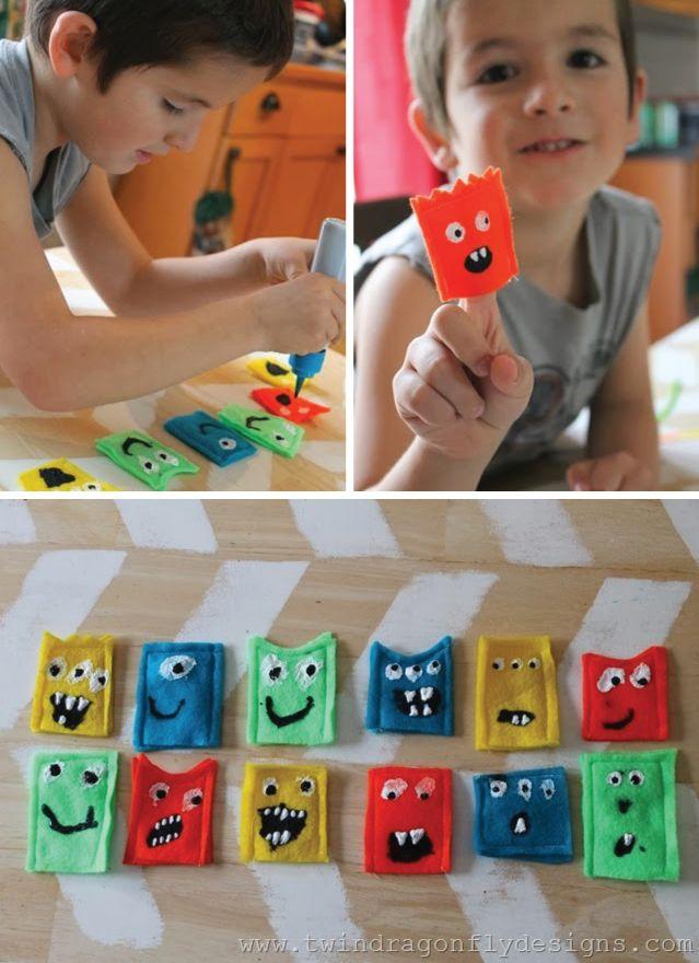 DIY Monster Finger Puppets Kids Craft