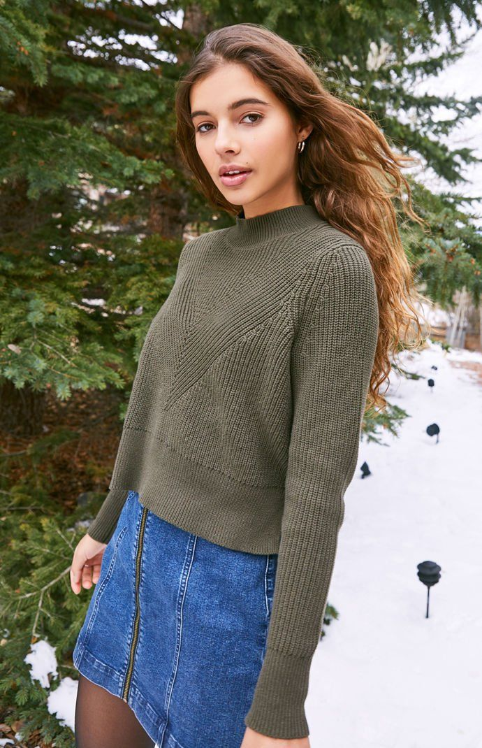 75278ac8c5f Kendall and Kylie Rachel Mock Neck Sweater