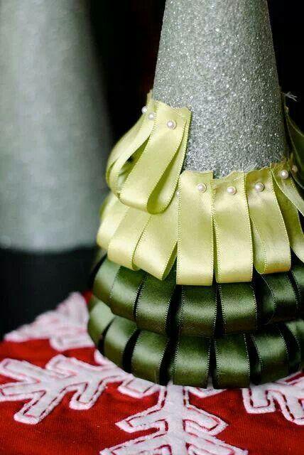 Use a Styrofoam cone, pins, & ribbon to create a Christmas tree.