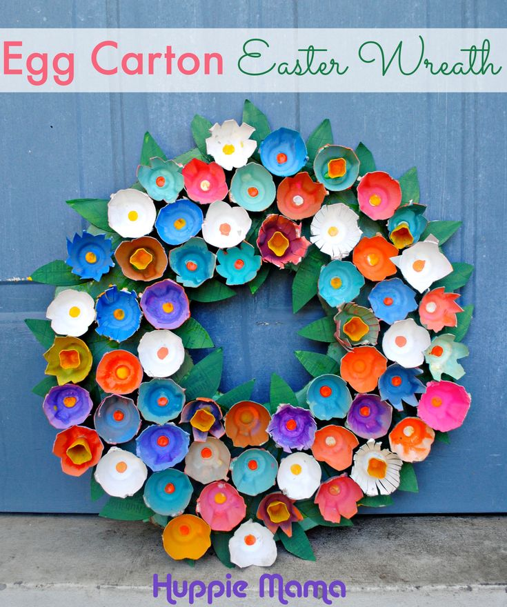 Easter Craft: Egg Carton Wreath - Huppie Mama