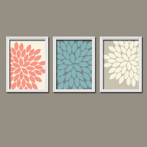 Beige Cream Turquoise Coral Navy Flower Burst Dahlia Bloom Artwork Set of 3 Trio Prints WALL Decor ART Picture Bedroom Bathroom Three