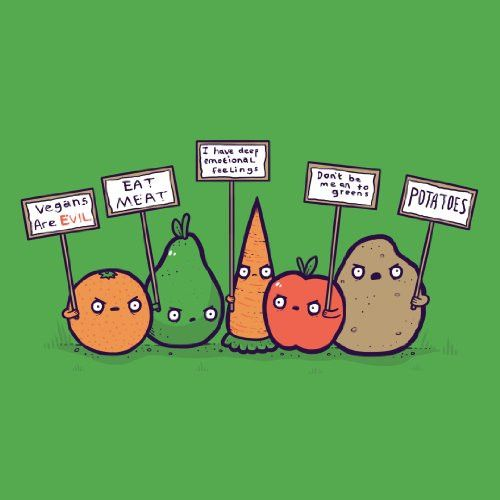 'Protesting Vegans' Funny Vegetables w/ Protest Signs Against Vegans - Vinyl Sticker