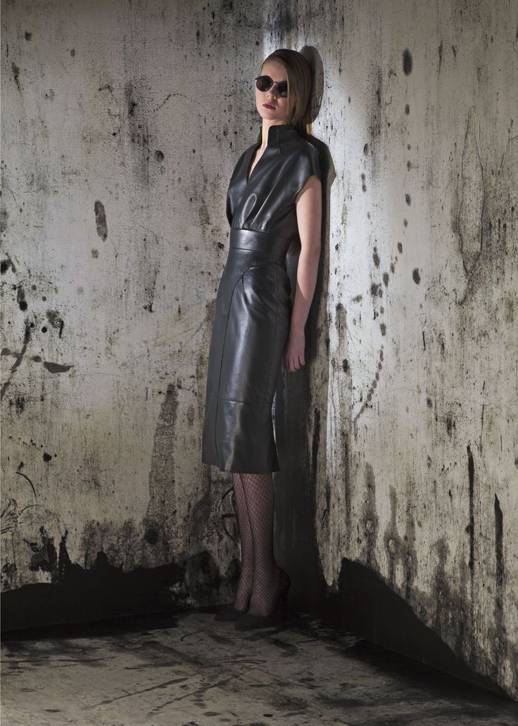 Black leather cocktail dress outfit look fashion trendy stylish