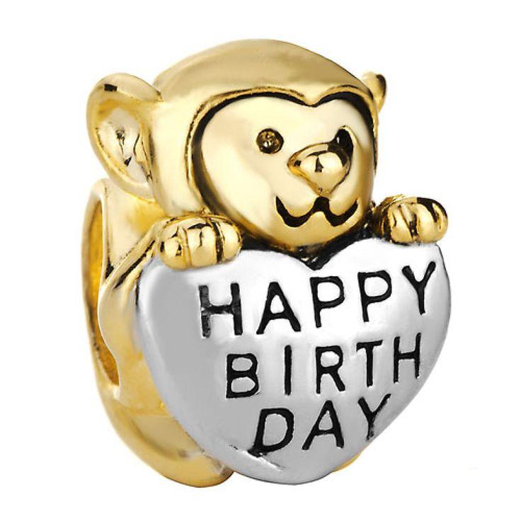 22K Golden Plated Cute Monkey Holding Heart Love Happy Birthday European Beads Pandora Chamilia Compatible #monkey #birthday #charms #pandora #happybirthday