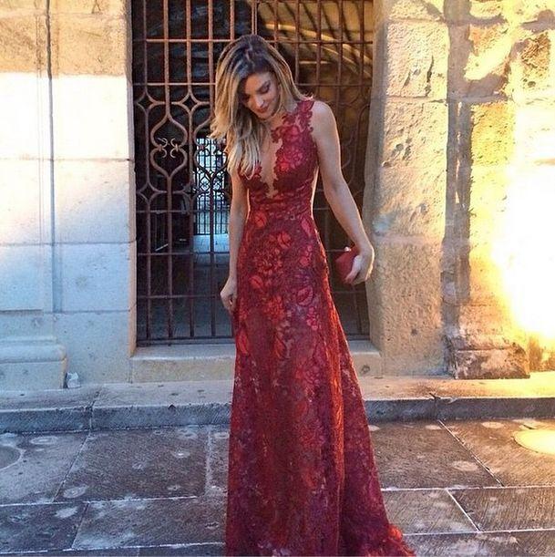 Geraldo Couto Noivas vestido de festa vermelho renda