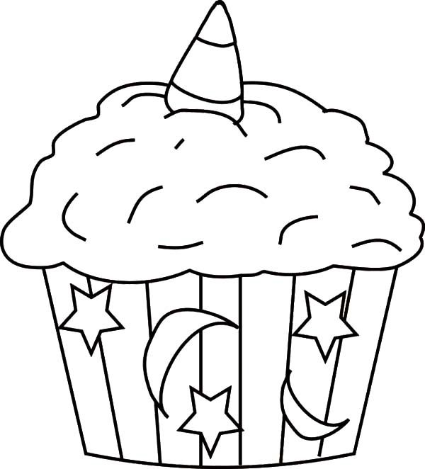 Moon and Star Theme Cupcakes Coloring Pages - NetArt in ...