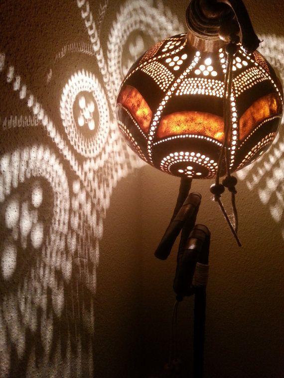 100% HANDMADE Gourd lamp Kürbislampe handcrafted Ottoman