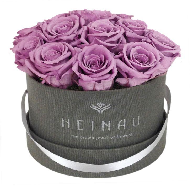 Heinau Rose Box - Lavender Roses. Preserved roses in a luxury box.