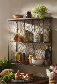 Give your home the farmhouse treatment by adding this Open Wire Wall Shelf Unit! Its open mesh design will add storage space and fun to your home. #kirklands #FrenchCountryDining #shelf