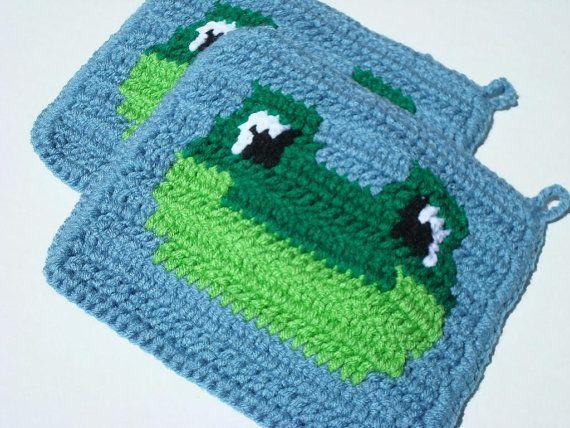 Blue Frog Potholders   Green Frog   Blue, Crochet Potholders, Pot Holders,  Hot