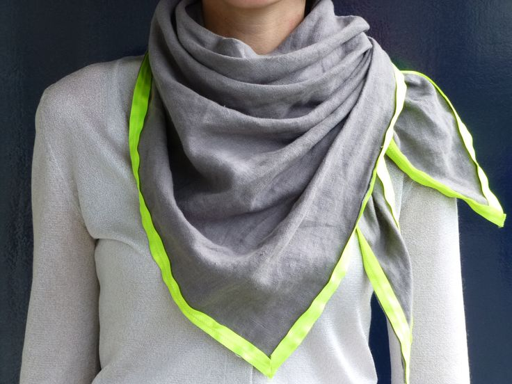 Grey wrap shawl with neon yellow rim - NEW colors. €39,00, via Etsy.