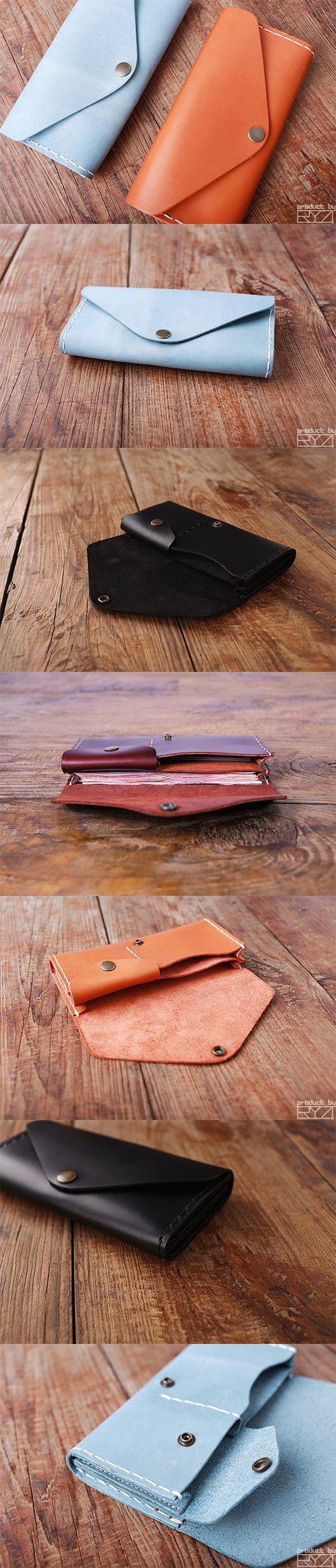 Handmade leather vintage envelop women long wallet clutch phone purse wallet