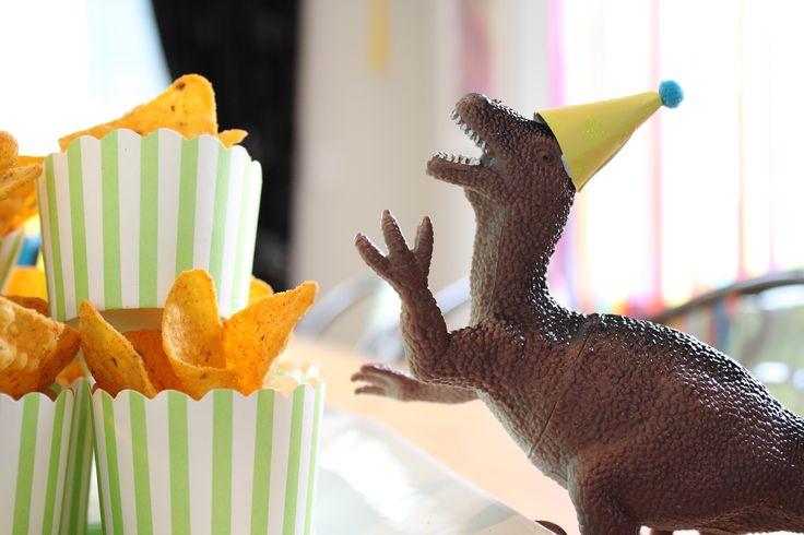 Dinosaur party food / dessert table Corn chips
