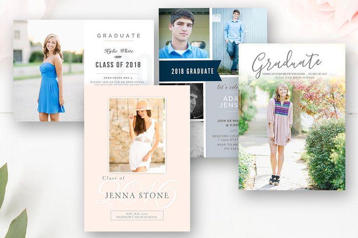 Senior Graduation Invitation Template Bundle - Photoshop Photo Cards - Set of 4