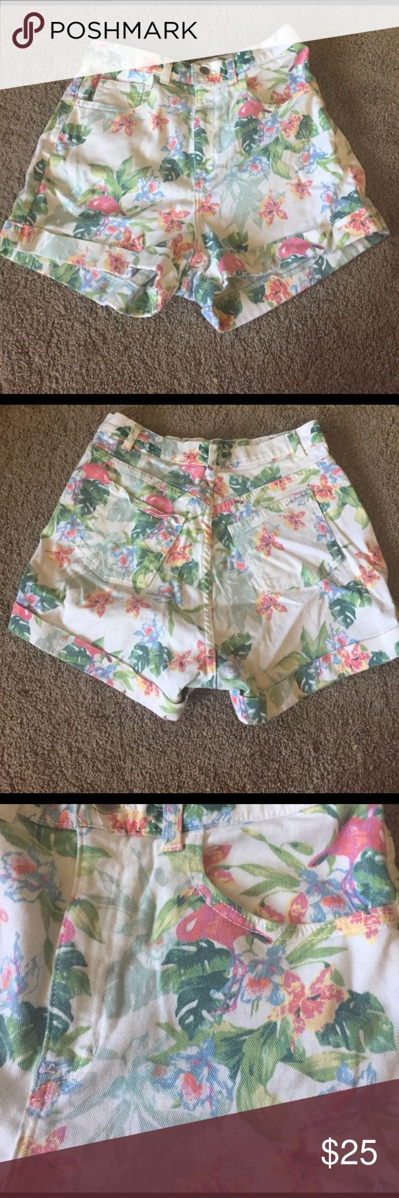 American Apparel shorts White, high waisted shorts, with a tropical design with pink flamingos American Apparel Shorts Jean Shorts
