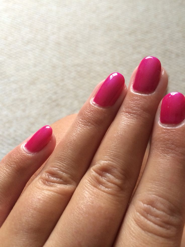 Pink Shellac Almond Shaped Nails